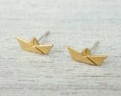 Paper Boat Post Earrings, minimalist studs, nautical theme