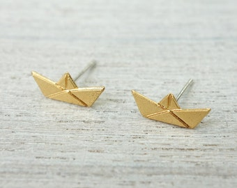 Paper Boat Post Earrings, minimalist studs, nautical theme