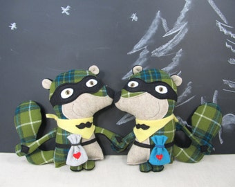Chipmunk Sidekick Bandit - children soft toy, gift, boys, kids, nursery decor