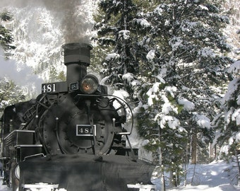 Winter Train Engine Greeting Card