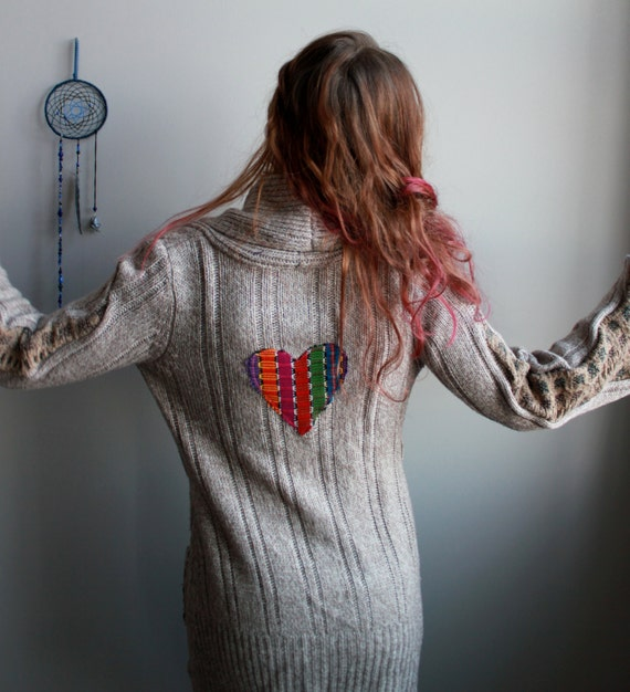 Bohemian Heart Patch Bell Sleeve Cable Knit Upcycled Hippie Boho Cardigan Sweater Jacket Boho Festival Womens Size Small/Medium Hippie