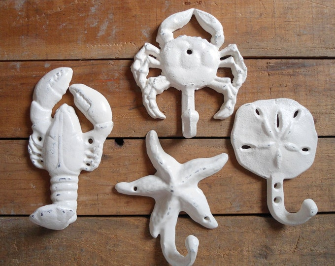 4 beach nautical wall hooks crab lobster sand dollar starfish beach home cottage renovation interior design Beach House Dreams Home OBX