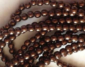 Czech Glass Druk Beads (100) 4mm Beads Dark Bronze Metallic, 4mm Round Glass Druks, Jewelry Supplies