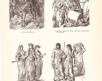 1898 World History Print - Fashion of Media and Egypt - Vintage Antique Art Print American History Great for Framing 100 Years Old