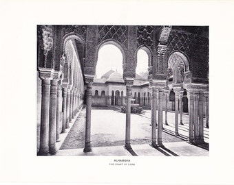 1903 Architecture Photograph - Alhambra Court of Lions - Vintage Antique Art Print History Geography Great for Framing 100 Years Old
