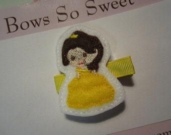 Princess Felt Hair Clippie...Belle Inspired Girls Hair Bows...Girls Hair Clips
