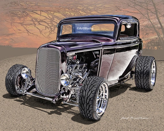 Li L Deuce Coupe Hot Rod Art 32 Ford 3 Windor