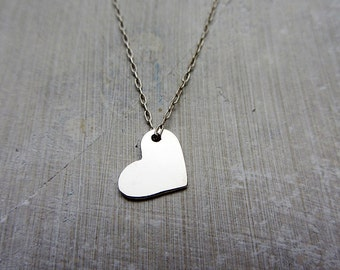 Sterling silver heart pendant necklace, dainty heart necklace