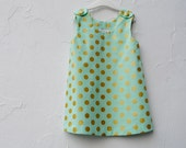 Girls Dress- Spring Dress- Spring Fashion in Metallic Gold and Mintwith Polka Dots (Custom 12 months 2T 3T 4T)
