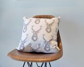 Gray Pillow- Silver Home Decor- Organic Pillow- Deer Antlers, Eco-Friendly, Pillow Cover, Accent Cushion