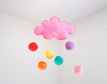 Pink Cloud Mobile in Wool- Spring Rainbow Baby Mobile - Nursery Decoration - Home Decor - Dreamy Mobile