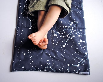 Organic Toddler Nap Mat - Preschool Napmat in Galaxy Night Sky Stars - Eco-Friendly Kids Bedding