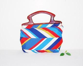 Vintage Bermuda Bag 1970's Stripes with Tortoise Handle