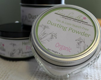 Natural Body Powder- NH LILAC with cotton dusting puff, Talc and Corn Starch Free. Travel Container, Talcum Powder