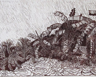 Banana Trees in the Rain, limited edition, hand printed, hand signed in pencil by artist