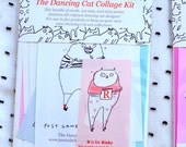 The Dancing Cat Collage Kit - DIY - Stationery Gift