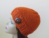 Chunky Knit Hat Winter Hat Chunky Knit Beanie Womens Hat Teens Hat - Pumpkin with  Button Accent  - Ready to Ship - Direct Checkout