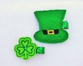 SALE-- Luck of the Irish Clippie set, Emerald Green St. Patty's Day Hair Clips