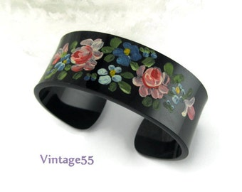 Cuff Bracelet Hand Painted Cabbage Rose small