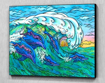 Wave Riding, Wood Wall Panel, Ready to Hang