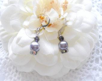 Swarovski Lavender Pearls, AB Rondelles, Sterling Silver Earwires