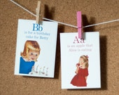 A is for Apple Vintage Flashcards - 5x7 - Set of 26