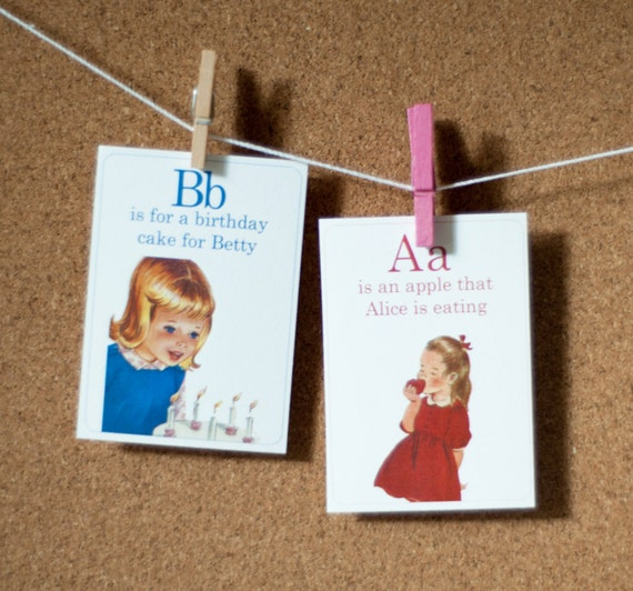 A is for Apple Alphabet ABC Vintage Retro Style Flashcards