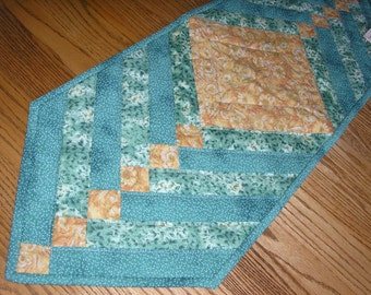 Quilted Table Runner, Green and Gold Braided 13 x 38  inches