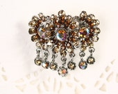 Gold Rhinestone Flower Pin - Blossom Cluster w/ Dangling Gems - New/Old Stock Vintage Brooch