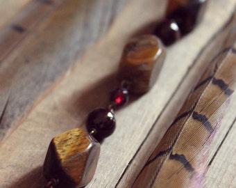 SALE ... Bloodwood. Rustic Tiger Eye, Garnet and Fossil Stone Gemstone Bracelet.