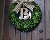 Boxwood Burlap Wreath, Door Wreath, wedding wreath, Holiday Wreath