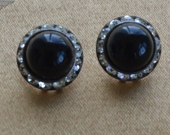 Pretty Vintage Black, Rhinestone Button Pierced Earrings, Silver tone