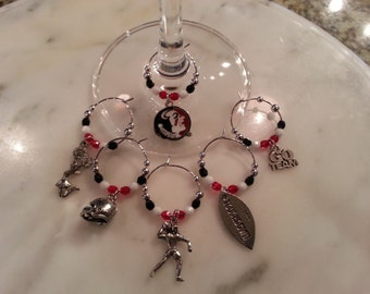 Florida Seminoles  Wine Charms W Pouch