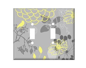 Gray Yellow Switchplate Cover, Light Switch Cover Single, Triple Switchplate, Double switchplate, Yellow Light Switch Cover
