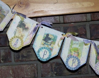 Easter Banner Happy Easter Garland Vintage Style