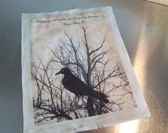 Quilting panel Edgar Allen Poe quote fabric panel grungy cotton quilt square craft fabric  raven crow blackbird art fabric print home decor