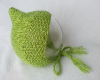 Baby bonnet, baby girl bonnet, baby, Lime green bonnet with sequence. Baby photography prop. Mohair and wool blend with sequence. Baby gift.
