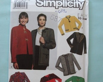 Simplicity 9875 - Misses Lined Jacket Sewing Pattern - Jacket Pattern - Easy To Sew Jacket Pattern