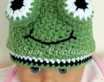 CROCHET PATTERN, Frog Beanie, hat, eyes, face, boy, girl, baby, toque, 1 to 12 mo, skill level intermediate