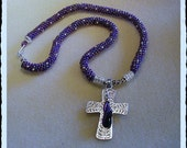 "Amethyst Beaded Rope Cross Necklace ""Kingdom Robes"" (""Wired to God"" Collection)"