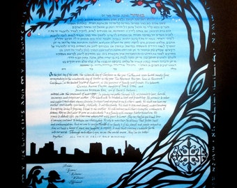 Gran Bwa Ketubah - papercut wedding artwork and calligraphy