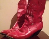 80's red leather western boots 6.5