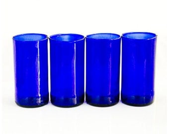 YAVA Glass -Upcycled Blue Bottle Glasses (Set of 4)