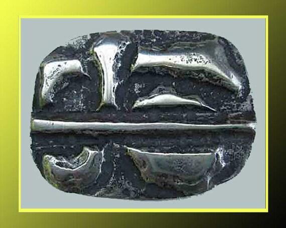 TOUGH...Brutalist Modernist Rough Texture Silver Pin,Vintage Jewelry,Unisex