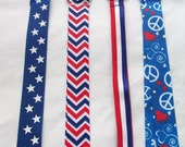 SALE inventory reduction. Red, white & blue ribbon lanyard, gift for co-workers, Christmas, Secret Santa. holiday party. chevron peace sign