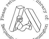 A Child's Book - Please Return - Custom Rubber Stamp - book plate