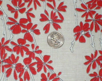 3 Yards 43 Wide 70s floral print cotton linen bark cloth fabric