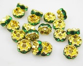 Vintage 10 Lacy Edge Gold  Plated Emerald Crystal Spacer 8mm Beads GR8