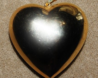 Vintage 1 Victorian Shiny Puffy Brass Heart with Bale 52X52MM N4L