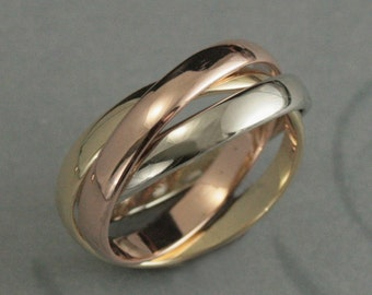 Solid 14K Wide TriColor Rolling Ring--Russian Wedding Band--Interlocking Bands--MultiColored Ring--3mm Wide Bands